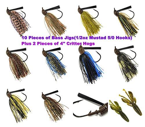 Wtrees Best Universal Flipping Pitching Swim Football Casting Jigs Set Kit Bulk for Bass Fishing (12 of Pack 1/2oz 5/0 Universal Jigs Kit #14)
