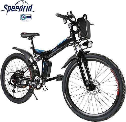Speedrid Vélo Électrique Pliant, Vélo de Montagne 26' Vélo à Assistance Électrique pour Adulte avec Moteur Haute Vitesse 250W et...