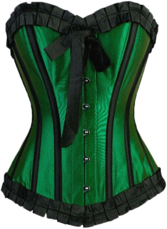 Green Satin Black Frill Retro Burlesque Waist Cincher Basque Overbust Corset Top