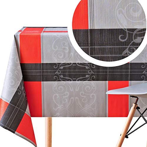 Nappe PVC Noir Rouge et Gris Toile Ciree Rectangulaire - 200 x 140 cm - Nappe Rectangle Plastique Vinyle - Facile à Nettoyer Toile Cirée - Motif Luxe Elégant
