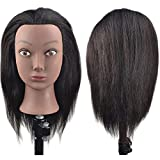BaSha Tête à coiffer afro à cheveux 100% naturels pour apprentissage de coiffure avec pince de fixation sur table