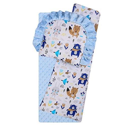 BlueberryShop Minky Set di copertura per carrozzina, Trapunta bilaterale con cuscino per neonati, Destinata per bambini 0-12 mesi