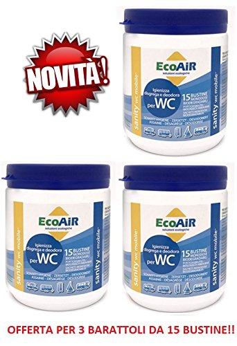 Sanity WC Poudre 15 sachets pour réservoir d'eau Noir Prince Actif Aqua Sachets - Offre pour 3 bocaux de 15 sachets