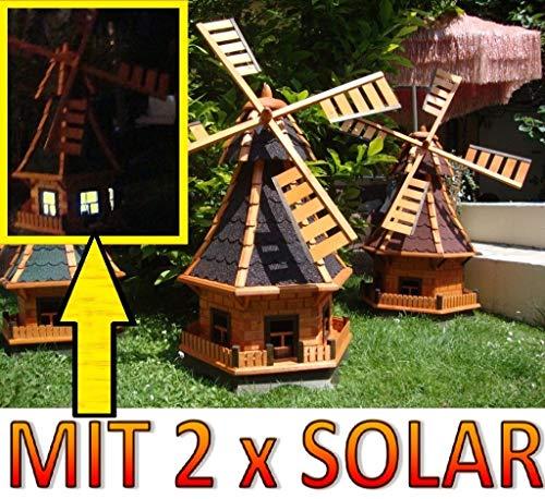 XXL,windmühle,windmühlen garten, imprägniert + kugelgelagert 1,30 m groß in schwarz anthrazit dunkelgrau dunkel, mit SOLARBELEUCHTUNG