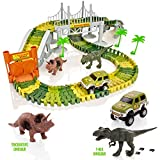 Create-A-Track Jurassic Dino World Pista Flexible y Juego de Coches Iluminado
