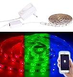 Luminea WLAN LED Strip: WLAN-LED-Streifen in RGB, 2 m, Amazon Alexa & Google Assistant komp. (WLAN LED Streifen Sets in RGB)