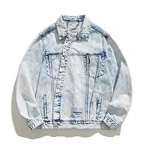 XGHW Herren Denim Jacket Button Denim Jacket Casual Trucker Jacke, lose gewaschene schräge Kloster Tooling Jacke, Langarm Streetwear Revers Jacke (Color : Blue, Size : 3XL)
