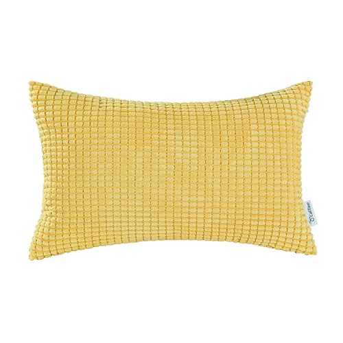 CaliTime Cozy Pillow Cover Case for Couch Sofa Bed Comfortable Supersoft Corduroy Corn Striped Both Sides 12 X 20 Inches Gold Yellow