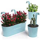 Barnyard Designs Metal Wall Planter, Indoor Outdoor Hanging Plant Pot Decor, Rustic Herb Flower Plant Holder, Seafoam Blue, Large: 11.25' x 4.25' x 3.75', Small: 4.30' x 4', Set of 3