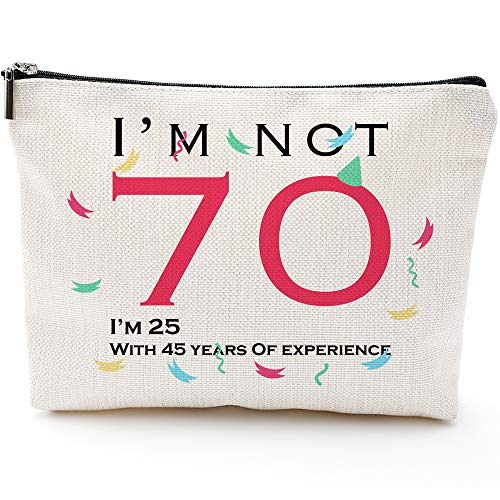 I'm not 70,I'm 25,With 45 Years of Experience-Fun 70th Birthday Gifts for Women-Makeup Travel Case,Makeup Bag Gifts