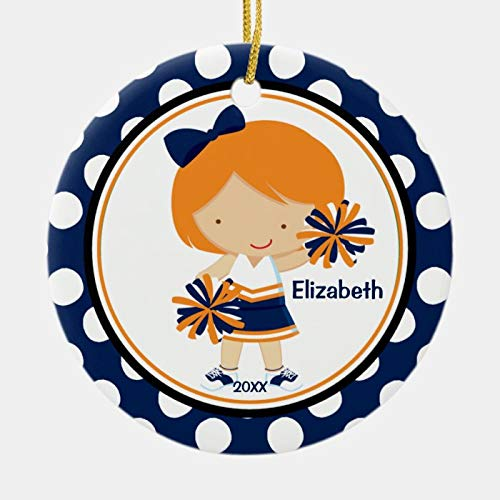 Cheerleader Girl Christmas Ornament Blue Gold Personalized 3 Ihch Ceramic Ornament Christmas Tree Decration