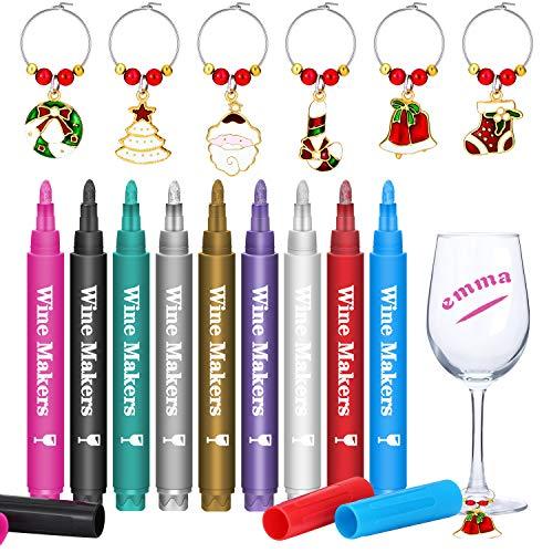 Boao 17 Piezas Marcadores de Copa de Vino de Navidad, Incluye 9 Piezas Bolígrafos Lavables de Copa de Vino...