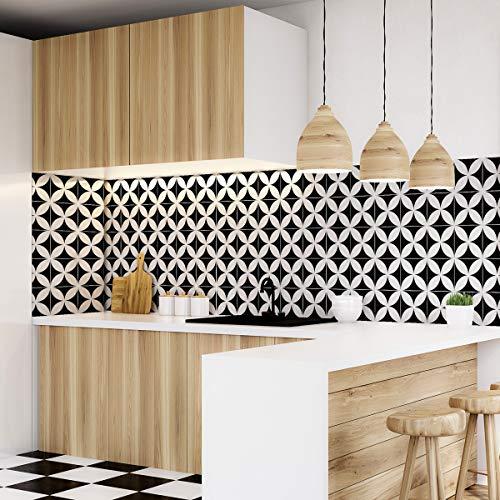 Tegelstickers zelfklevend - cementtegels - wanddecoratie sticker tiles voor badkamer en keuken - cementtegels zelfklevend - 15x15 cm - 30 stuks