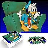 Puzzle 1000 Piezas Pato Donald Escena de animación Póster Clásico Estrella de Dibujos Animados Personaje de Anime Rompecabezas de Papel 26x38cm Juego Familiar Rompecabezas difícil