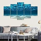 Tableau mural à 5 panneaux avec vue en bas sous la surface Image imprimée sur toile Paysage marin (avec cadre) 30 x 40 x 2,30 x 60 x 2,30 x 80 x 1 cm
