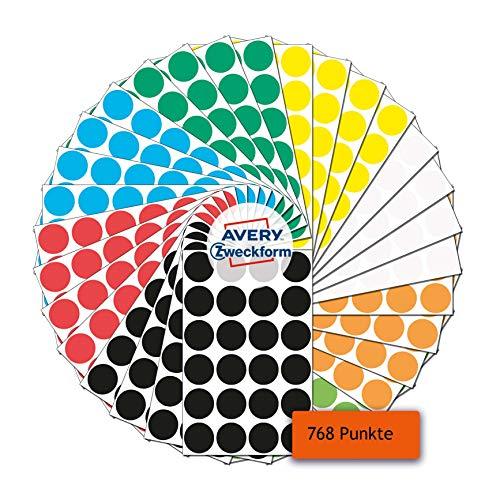 AVERY Zweckform Klebepunkte 768 Stück (selbstklebende Markierungspunkte, Ø 18mm, 8 Farben je 96 Klebepunkte, runde Aufkleber für Kalender, Planer und zum Basteln, Papier, matt) Art. 59998