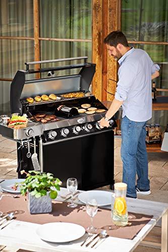 519jaRQ pFL - Rösle Kartoffelhalter, Edelstahl 18/10, Griffe, auf Grills ab Ø 47 cm verwendbar, spülmaschinengeeignet, 43 x 9 x 4,5 cm