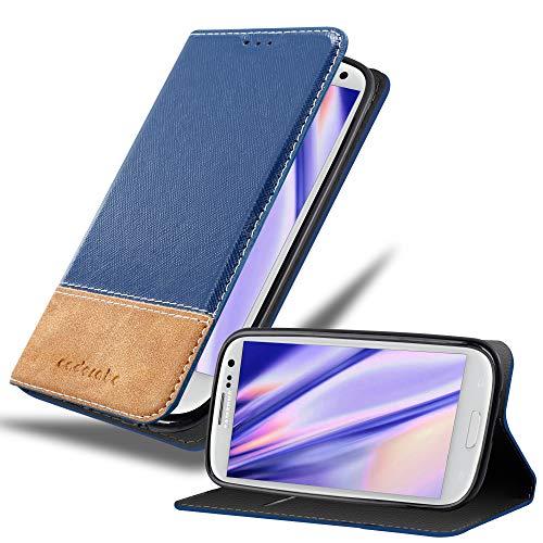 Cadorabo Custodia Libro per Samsung Galaxy S3 / S3 Neo in Blu Scuro Marrone - con Vani di Carte, Funzione Stand e Chiusura Magnetica - Portafoglio Cover Case Wallet Book Etui Protezione