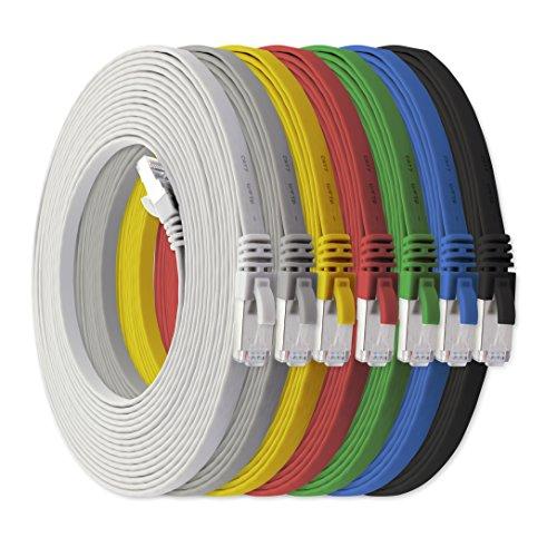 10m - CAT7 Cable de Red Plano 7 Colores...