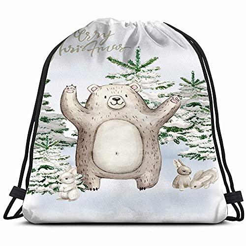 Kerst Woodland Leuke Bos Cartoon Wasbeer Dieren Wildlife Avontuur Vakantie Trekkoord Rugzak Tas Voor Kids Jongens…