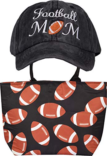 Football Tote Bag for Woman, Football Mom, Women's Trucker Hat, Football Mom Tote, Football Bags for Moms, Football Cap for Women, Football Mom Gifts Black