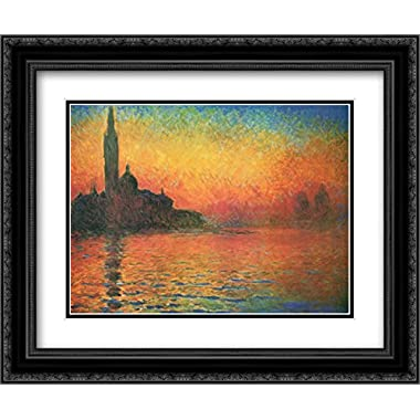 Dusk in Venice 2x Matted 18x15 Black Ornate Framed Art Print by Claude Monet