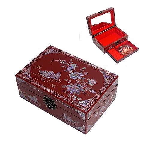 HAIHF Schmuckschatulle, Schmuckschatulle aus Holz, Aufbewahrungsbox für Schmuckstücke, Aufbewahrungsbox für Ring-Halsketten, Aufbewahrungsbox für Truhen mit Mandarinen-Enten-Design
