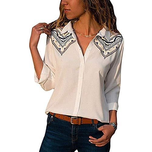 OverDose Damen Casual Gestreift Hemd Frauen Fashon Striped Langarm lose Bluse T-Shirt Tops Oberteile(F-Weiß1,EU-42/CN-XL)