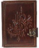 Cuaderno de piel con diseño de tarjeta de estrellas, diario, páginas en blanco, marrón, Steam...