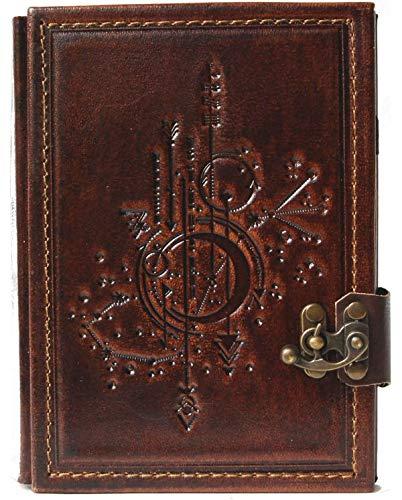 Cuaderno de piel con diseño de tarjeta de estrellas, diario, páginas en blanco, marrón, Steam Punk, álbum de poesía, 23 x 17 x 2,3 cm, tamaño grande