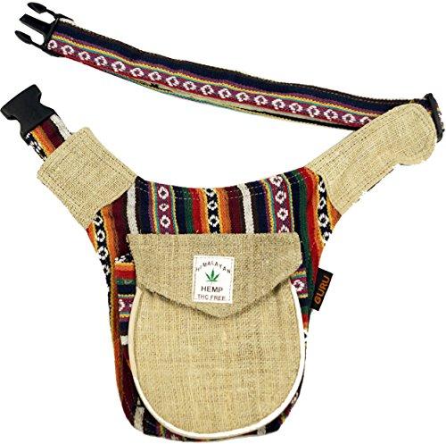 Guru-Shop Hanf Ethno Sidebag, Nepal Gürteltasche - Model 2, Herren/Damen, Beige, Baumwolle, Size:One Size, 30x20 cm, Festival- Bauchtasche Hippie