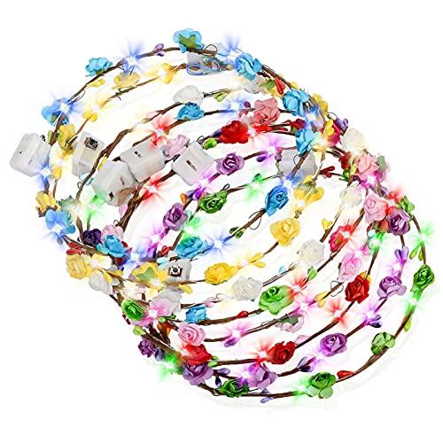 SaturFun Lot de 20 guirlandes lumineuses à LED - Décoration : couronne de fleurs - Pour femme et enfant - En rotin - Pour la plage, un mariage, une fête, la fête des mères, le Nouvel An