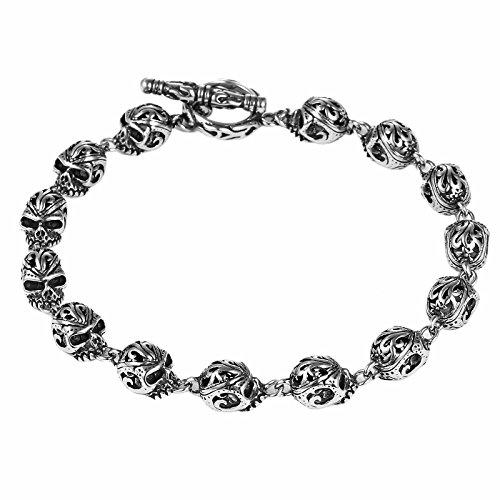 DonDon Herren Totenkopf-Armband aus Edelstahl 22 cm