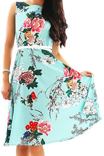 YMING Frauen Knielang Sommerkleid Ärmellos Sexy Partykleider Petticoat Kleid Hepburn Stil Swing-Kleid Grün Blumen S/DE 36-38