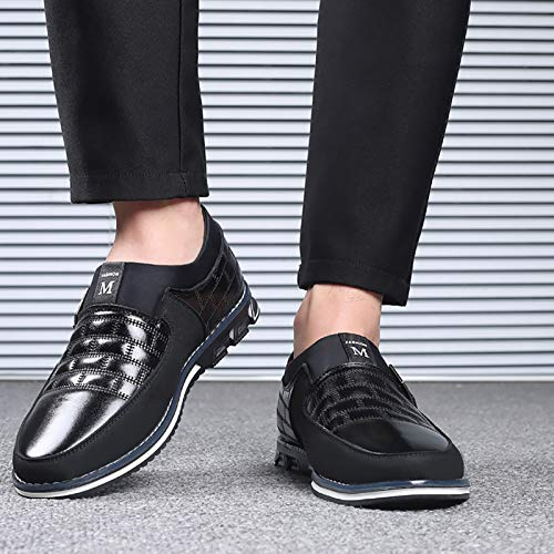 COSIDRAM Men Casual Shoes Summer Sneakers Loafers Breathable Genuine Leather Comfort Walking Shoes Fashion Driving Shoes Luxury Black Brown Leather Business Work Office Outdoor Shoes for Male 10.5