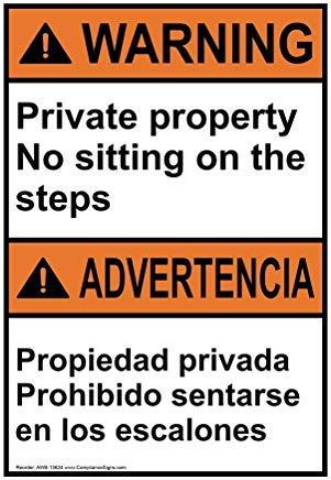 Wendana Waarschuwing Privé Eigendom Geen Zitten Op De Trappen Engels + Spaans ANSI Veiligheidsbord, Grappig Wanring Borden, Poortbord, Vandaar Yard Sign,8