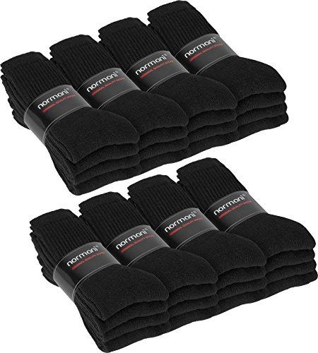 16 Paar Arbeits- und Sportsocken aus Baumwolle Farbe Schwarz Größe 43/46