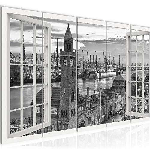 Bilder Fenster Hamburg Wandbild 200 x 80 cm Vlies - Leinwand Bild XXL Format Wandbilder Wohnung Deko Kunstdrucke - MADE IN GERMANY - Fertig zum Aufhängen 850355c