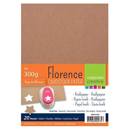 Vaessen Creative Cartulina Florence, 20 Hojas, A4, 300 GSM, Perfecta para Scrapbooking, Creación de Tarjetas y Otras Manualidades, Marrones Kraft