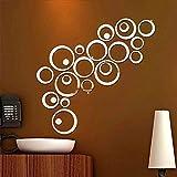 Vinilos de pared decorativas 24pcs / set Círculos 3D de bricolaje etiqueta de la pared decoración del hogar pegatinas de pared de espejo for el fondo de TV Decoración de acrílico del arte en pared