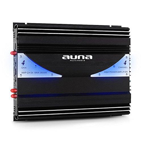 AUNA AMP-CH04 amplificatore per auto (2800 Watt/380 Watt RMS, 4 canali, illuminazione a LED, ingressi di alto e basso livello, telaio a bassa risonanza) - nero