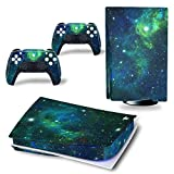 DOMILINA PS5 Skin Stickers, Full Body Vinyl Decal Cover for Playstation 5 Disk Edition Console & Controllers - Green Galaxy