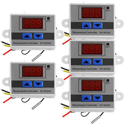 AZDelivery 5 x XH-W3001 Controlador Digital Temperatura LED, Mini Interruptor Termostato a Prueba de Agua, Pantalla Temperatura Ajustable, Sonda Temperatura NTC DC 12V 120W 10A con E-Book incluido