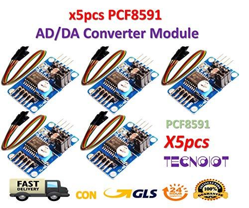 TECNOIOT 5pcs PCF8591 módulo convertidor AD/DA de conversión de analógico a Digital + Cable