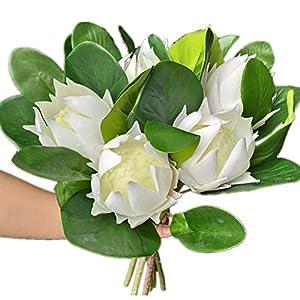 6pcs Fake Protea Cynaroides 19″ Silk Protea Cynaroides Flower Four Colors for Home Decorative Wedding Centerpieces (White)