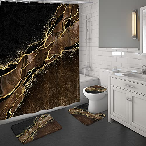MitoVilla 4 Pcs Brown Marble Shower Curtain Set, Modern Brown and Black Bathroom Sets with Shower Curtain and Rugs and Accessories, Brown Yellow Cream Gold Bathroom Shower Curtain Sets with Rugs