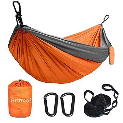 Tormays Camping Hammock, Double & SinglePortable Hammocks with 2 Tree Straps, Lightweight Nylon Parachute Hammocks for Backpacking, Travel, Beach, Backyard, Patio, Hiking?Orange?