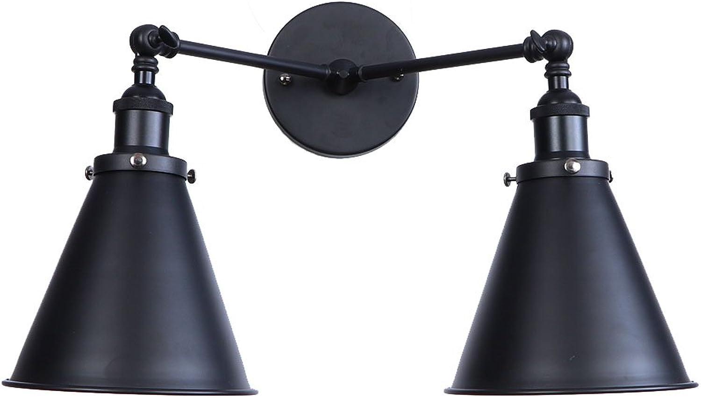 CX AMZ Doppelkopf-Wandleuchte, Kreative Nachttischlampen aus Metall, Persnlichkeit Dekoration Wandlampen, einstellbar 180 Grad, rustikale Wandmontage-Wandleuchte E27,schwarz