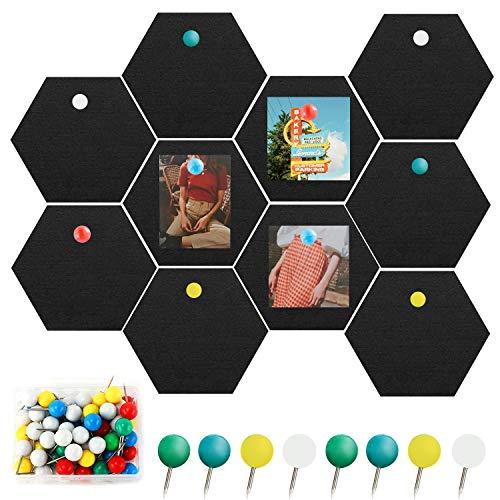 SUPRBIRD Hexágono de Fieltro Autoadhesivo, Set de 10 Tablero de Anuncios de Fieltro Tablero de Notas Hexagonal de Azulejos con 20 Pasadores de Empuje, para Memos Fotos, Decoración del Hogar y Oficina