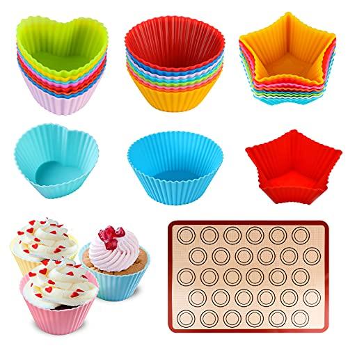 Lot de 24 moules à muffins en silicone et tapis de support - Réutilisables - Anti-adhésifs - Sans BPA - 3 formes, 6 couleurs - Moules de cuisson réutilisables pour muffins, cupcakes et puddings